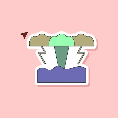 disaster: paper sticker on stylish background tsunami
