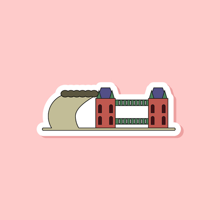 paper sticker on stylish background tsunami city Illustration