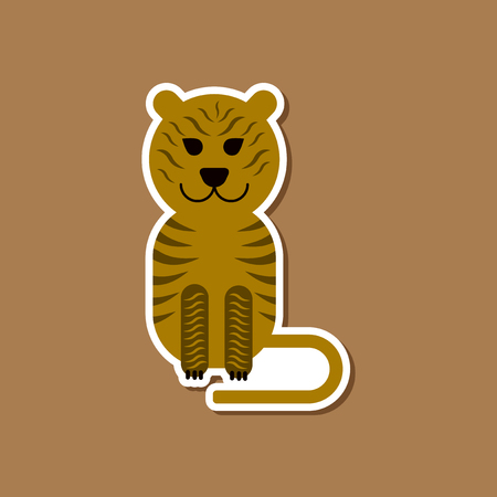 paper sticker on stylish background cartoon tiger