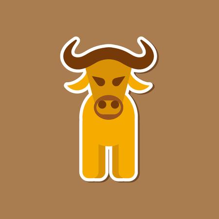 paper sticker on stylish background cartoon bull