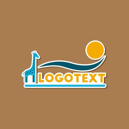Paper sticker on stylish background giraffe logo