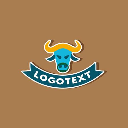 paper sticker on stylish background bull logo Illustration