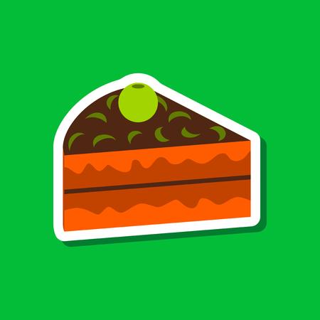 Sweet dessert in paper sticker Berry cake Illustration