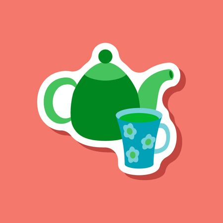 paper sticker Tea kettle and cup