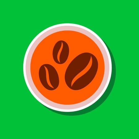 paper sticker on stylish background beans coffee logo