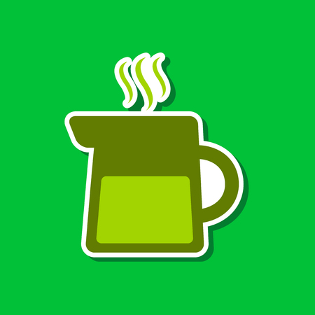 paper sticker on stylish background coffee maker Illustration