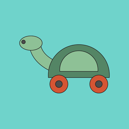 Flat icon on background Kids toy turtle