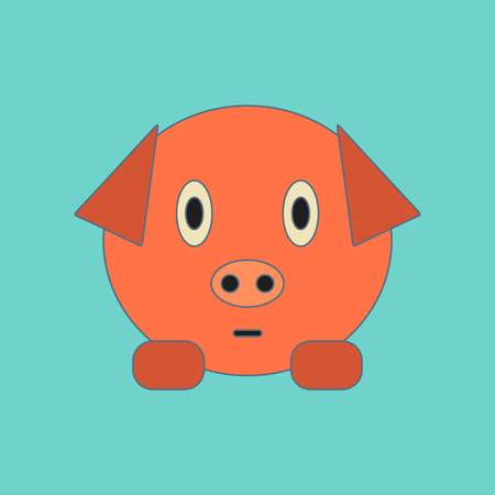 Flat icon on background Kids toy pig