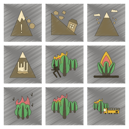 disaster: Assembly flat shading style icon danger natural disasters