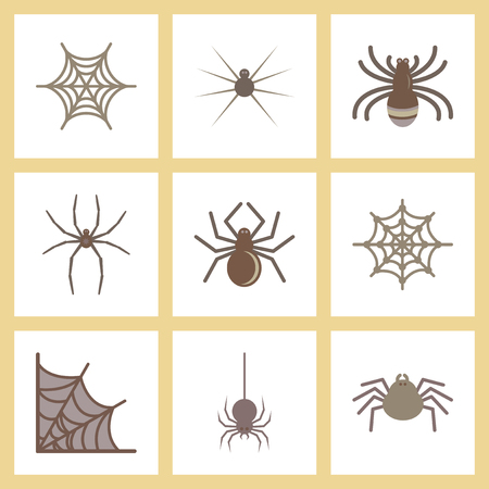 frightful: assembly flat icons halloween spider web Illustration