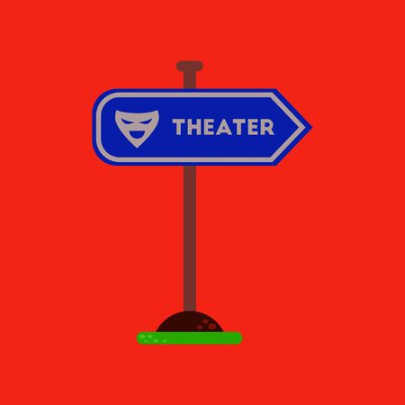 movie theater: flat icon on background theater sign