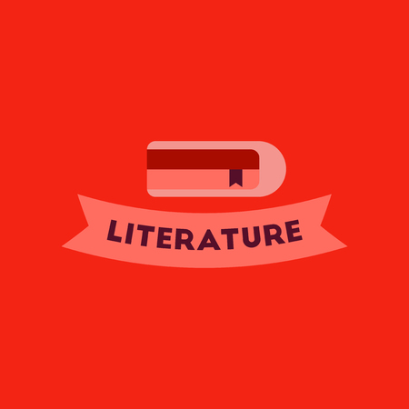poems: flat icon on background Literature lesson
