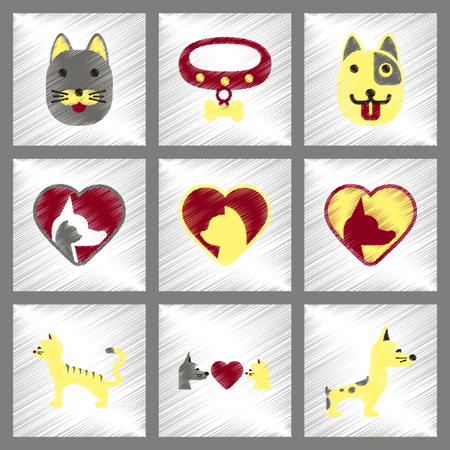 silueta de gato: assembly flat shading style icons dogs cats pets