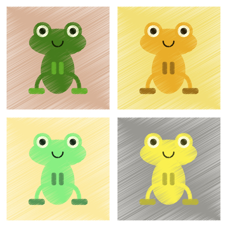 assembly flat shading style icons Cute frog cartoon