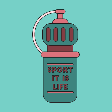 gym equipment: Icon in flat design Sports bottle