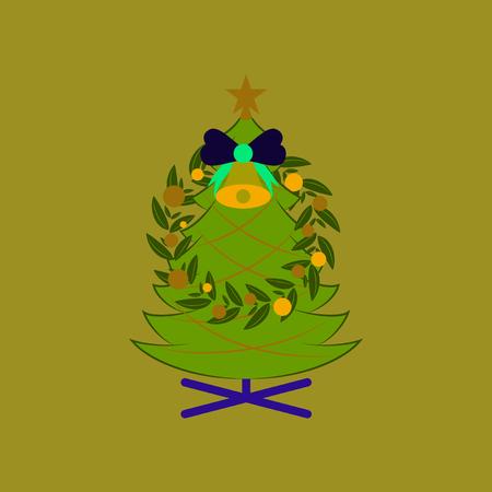 flat illustration on background of Christmas fir wreath