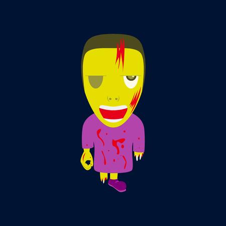 flat illustration on background of zombie men