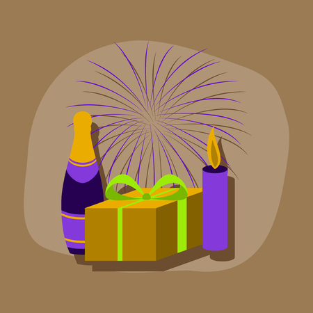 christmas cake: paper sticker on stylish background fireworks champagne gift