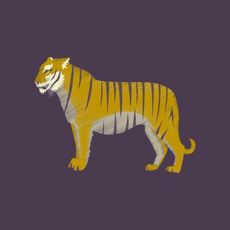 flat shading style icon tiger