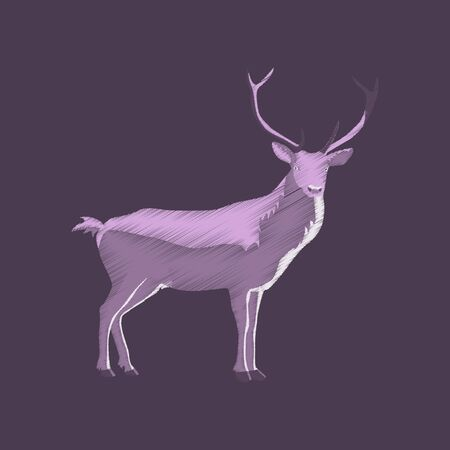 flat shading style icon deer