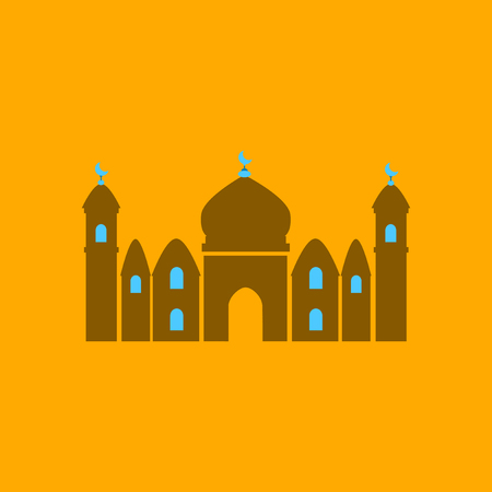 Icon in a flat style Muslim mosque