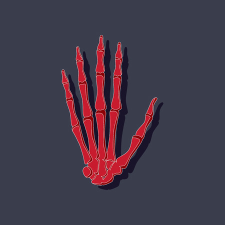 Wrist bone paper sticker on stylish background Illustration