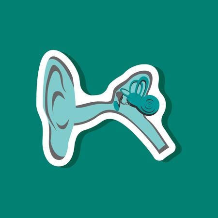 human ear paper sticker on stylish background