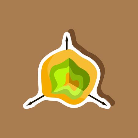 paper sticker on stylish background graph circle Illustration