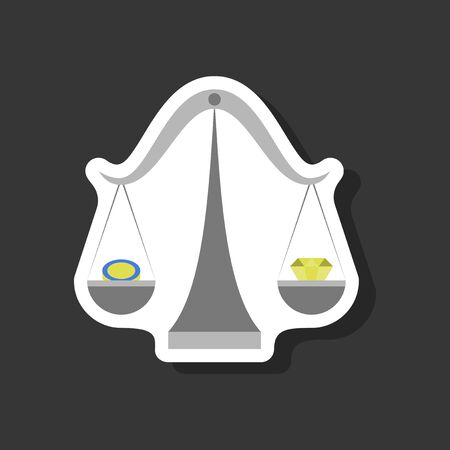 libra: paper sticker on stylish background Coin and diamond scales