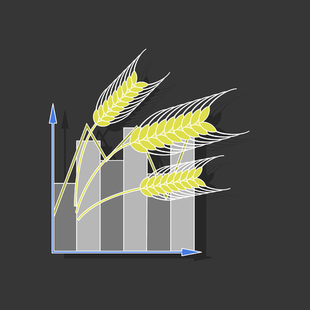 paper sticker on stylish background Wheat infographics Illustration