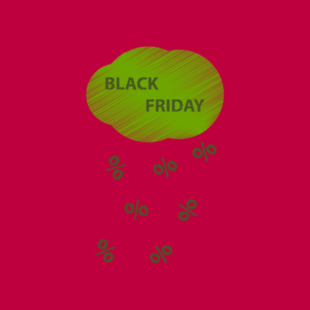 flat shading style icon black Friday discounts cloud Illustration