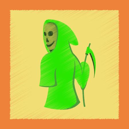 doom: flat shading style icon halloween death scythe