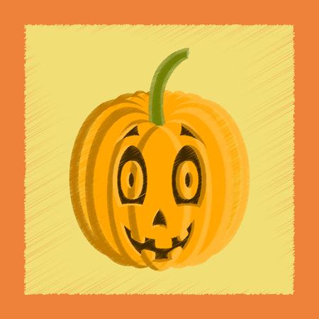 amazed: flat shading style icon Halloween pumpkin emotions Illustration