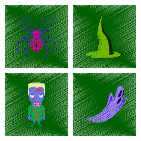 assembly flat shading style icon spider witch hat monster ghost Illustration