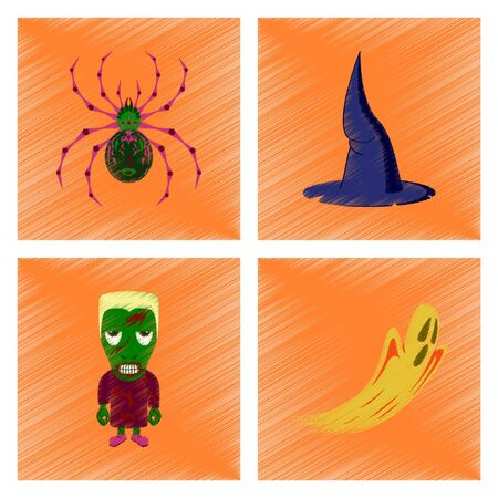 assembly flat shading style icon spider witch hat monster ghost