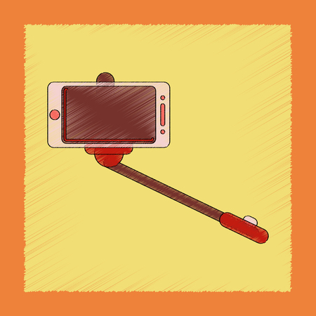 yourself: flat shading style icon Smartphone selfie stick