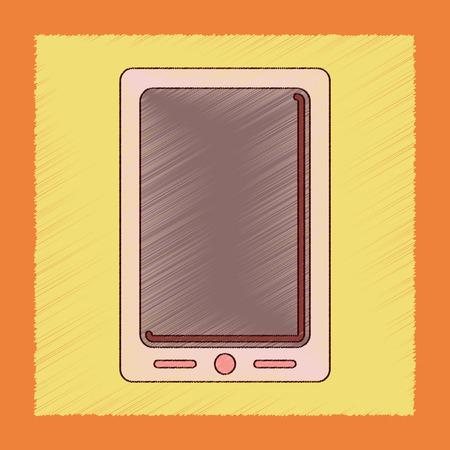 telecommunications equipment: flat shading style icon mobile phone Illustration