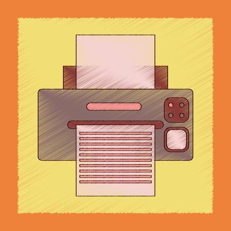 flat shading style icon computer Printer Illustration