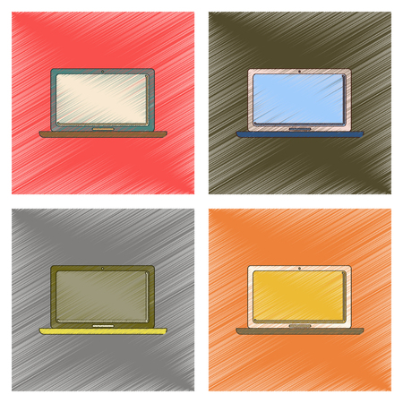 mobility: assembly flat shading style icon technology laptop