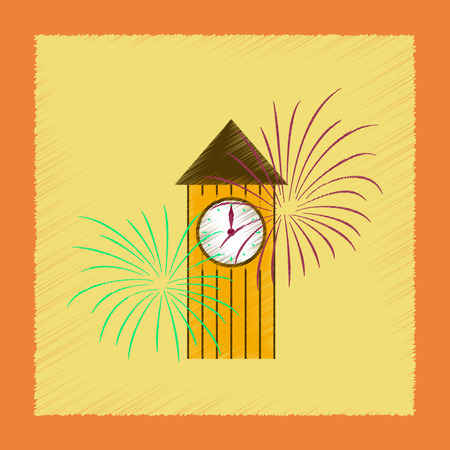 flat shading style icon Christmas clock Illustration