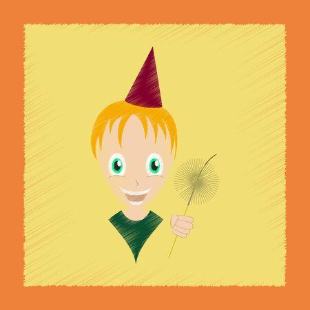bengal: flat shading style icon child sparkler Illustration