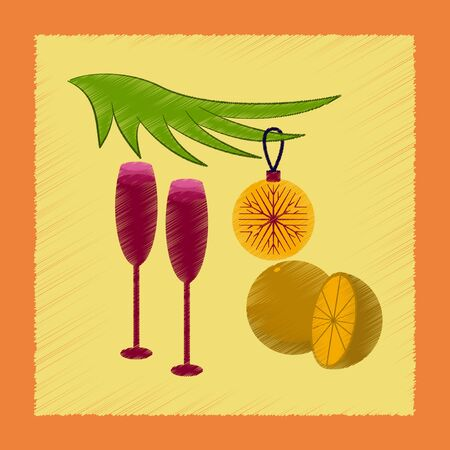 flat shading style icon glasses champagne oranges