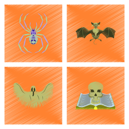 cobwebs: assembly flat shading style icon halloween spider bat ghost book skull