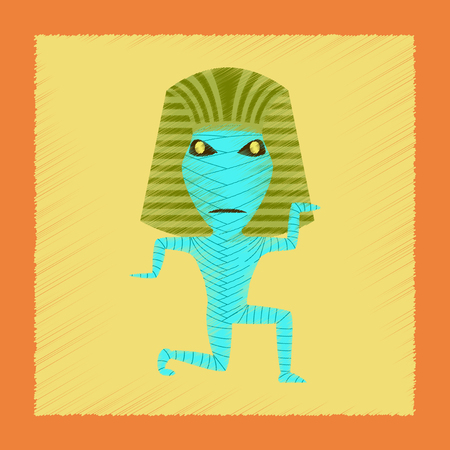 mummified: flat shading style icon mummy halloween monster