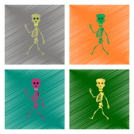 assembly flat shading style icon skeleton Halloween monster