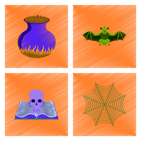 assembly flat shading style icon ghost spider book skull web