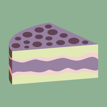 Sweet dessert in flat design cake