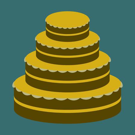 Sweet dessert in flat design wedding cake