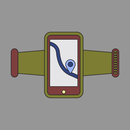 smartphone business: Icon in flat design Smartphone for running Illustration