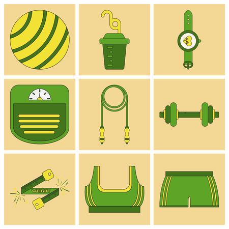 crossbar: Set of Icons in flat design Fitness equipment Illustration